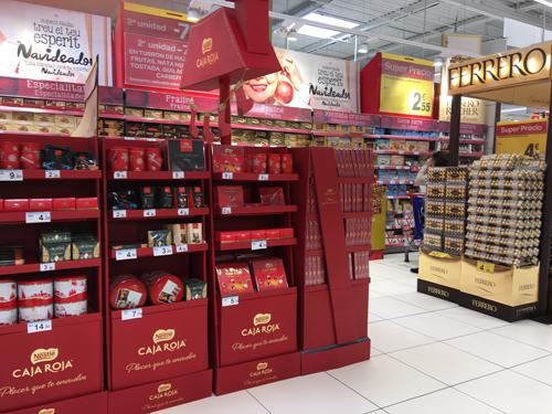 スペインクリスマス用のチョコの棚